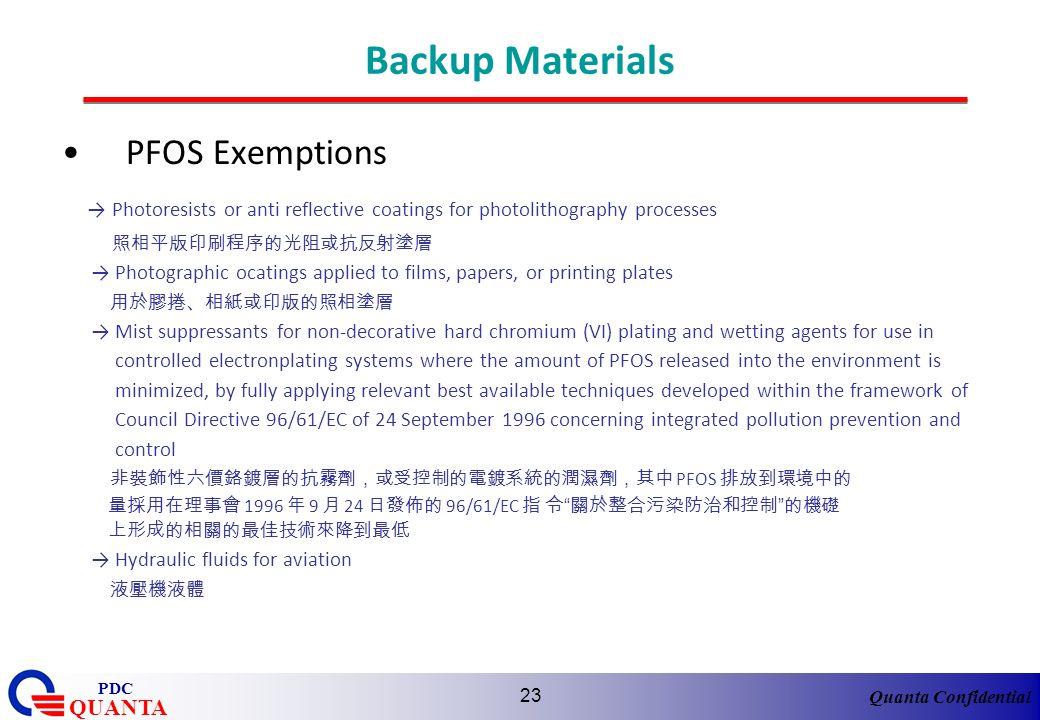 Backup Materials PFOS Exemptions