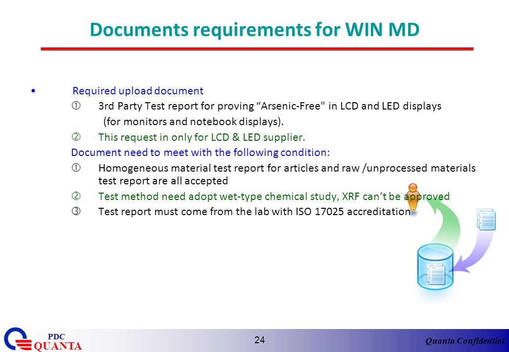 Documents requirements for WIN MD