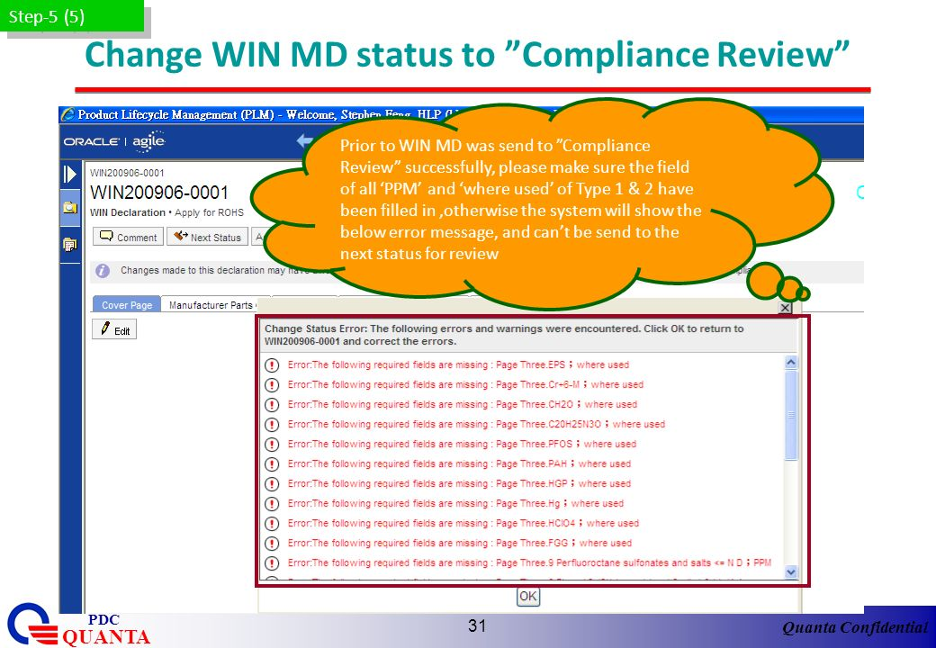 Change WIN MD status to Compliance Review
