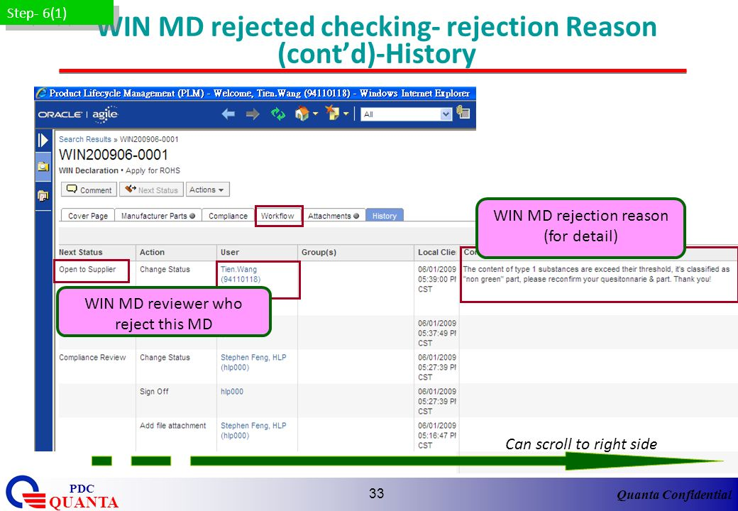 WIN MD rejected checking- rejection Reason (cont'd)-History