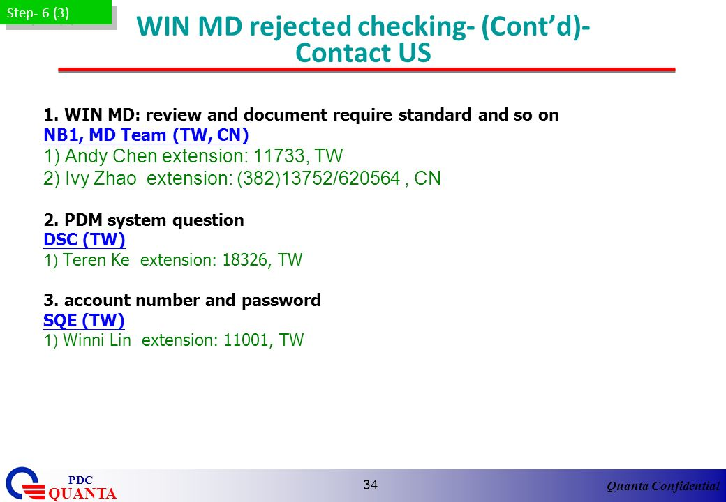 WIN MD rejected checking- (Cont'd)- Contact US