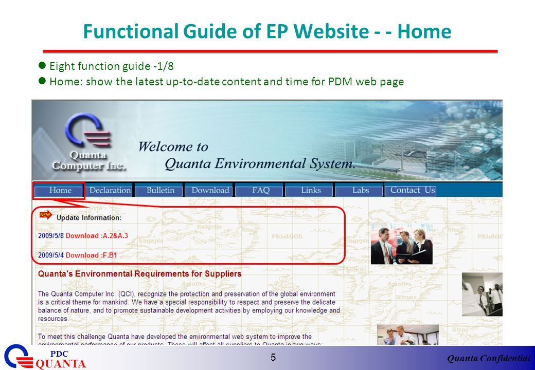 Functional Guide of EP Website - - Home