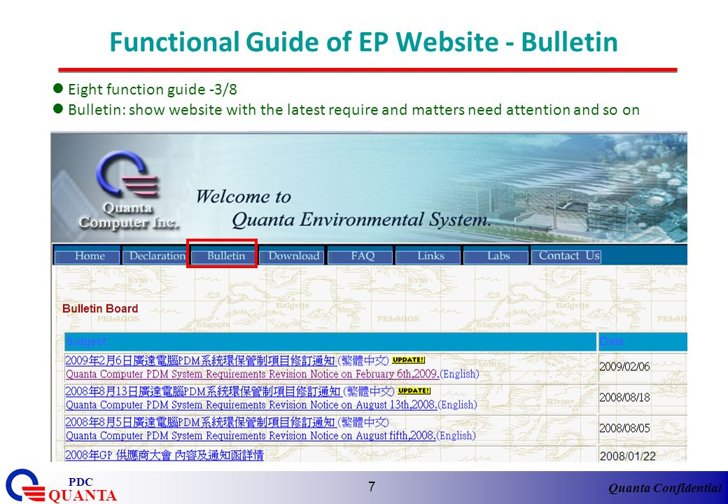 Functional Guide of EP Website - Bulletin