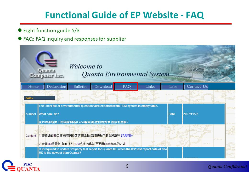 Functional Guide of EP Website - FAQ