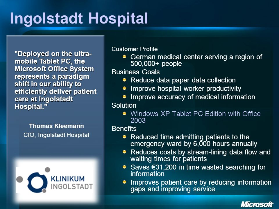 CIO, Ingolstadt Hospital