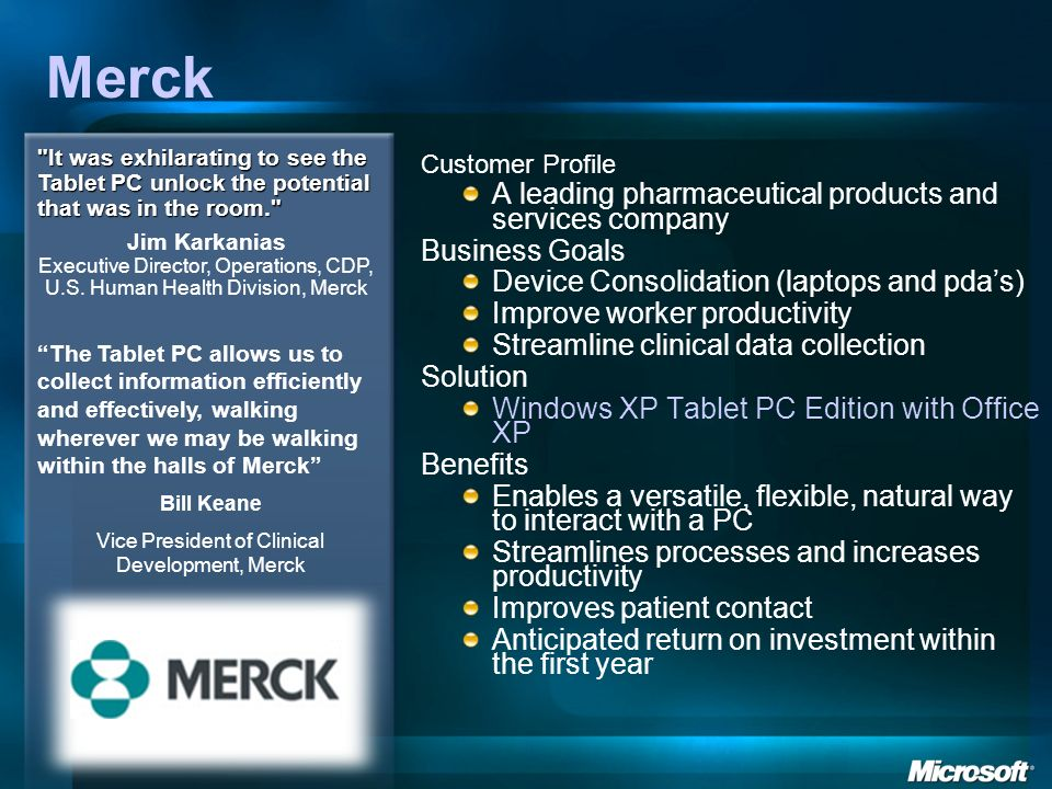 Vice President of Clinical Development, Merck