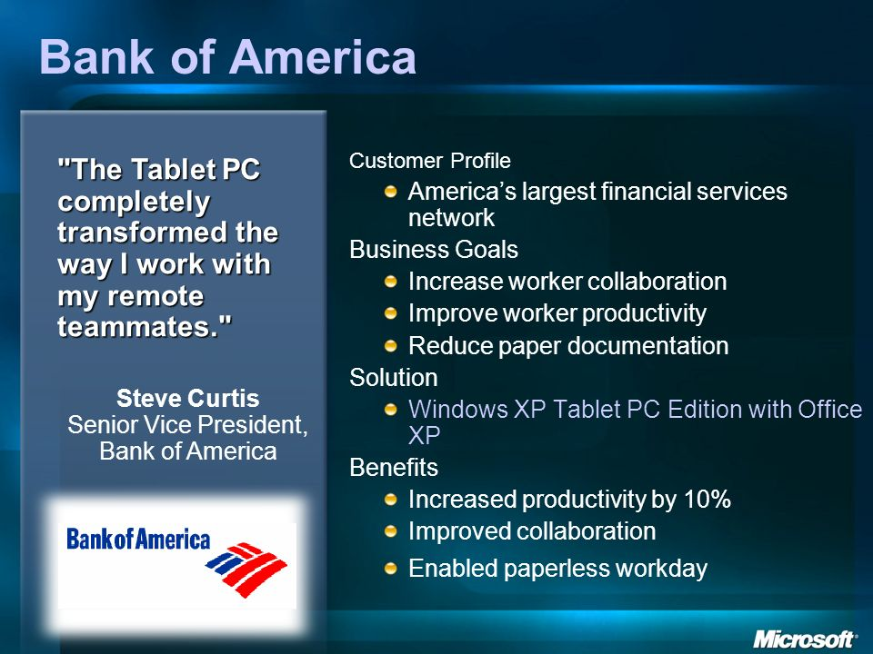 Steve Curtis Senior Vice President, Bank of America