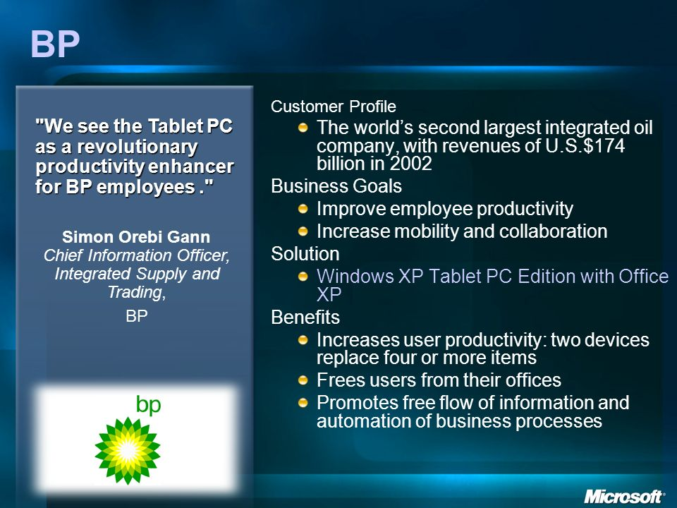 BP Customer Profile. The world's second largest integrated oil company, with revenues of U.S.$174 billion in 2002.