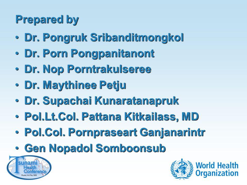 Prepared by Dr. Pongruk Sribanditmongkol. Dr. Porn Pongpanitanont. Dr. Nop Porntrakulseree. Dr. Maythinee Petju.