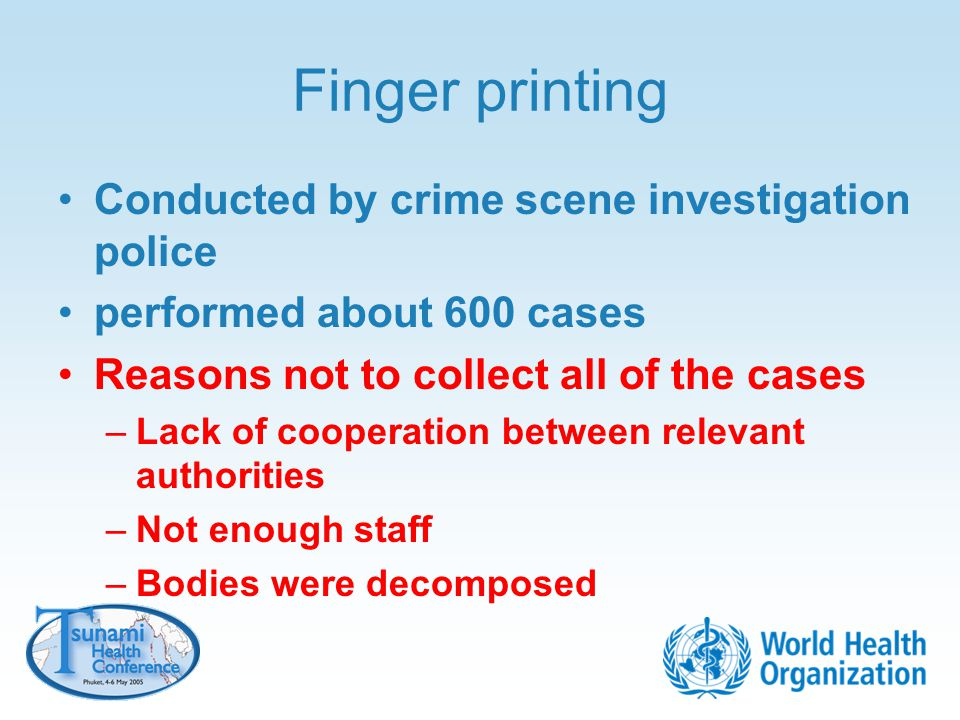 Finger printing Conducted by crime scene investigation police