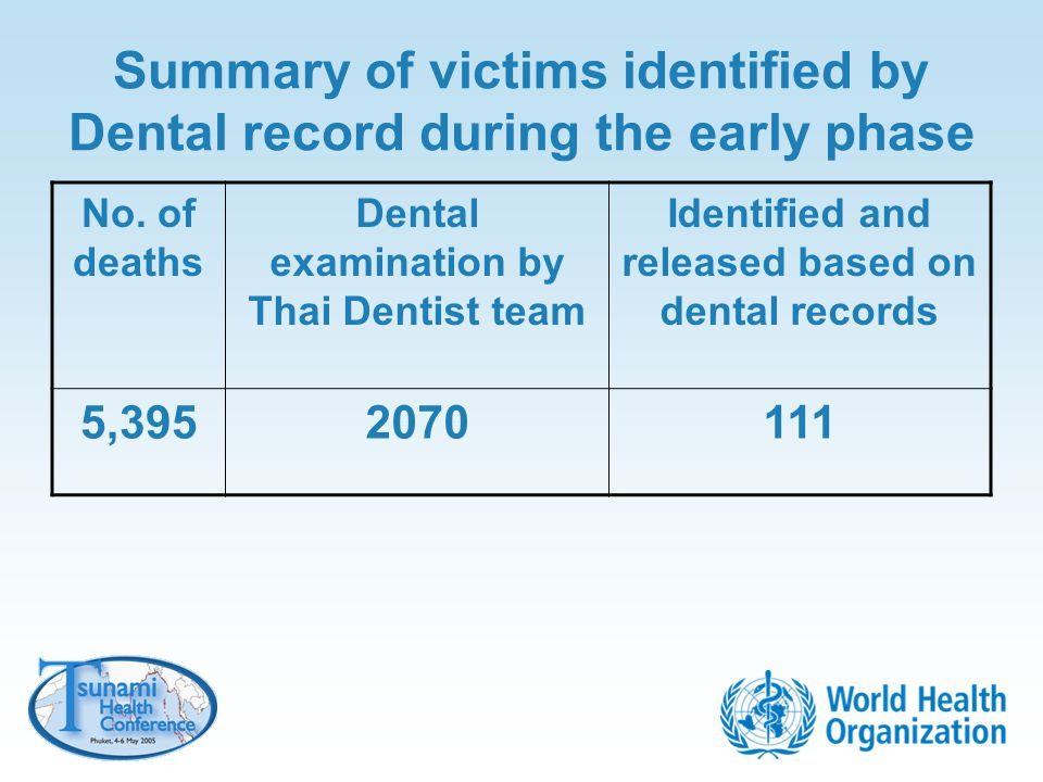 Summary of victims identified by Dental record during the early phase