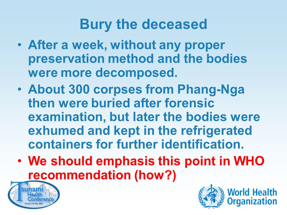 Bury the deceased After a week, without any proper preservation method and the bodies were more decomposed.