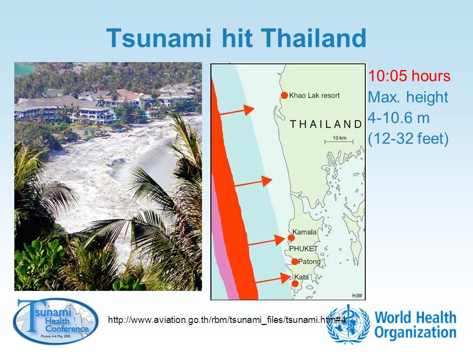 Tsunami hit Thailand 10:05 hours Max. height m (12-32 feet)