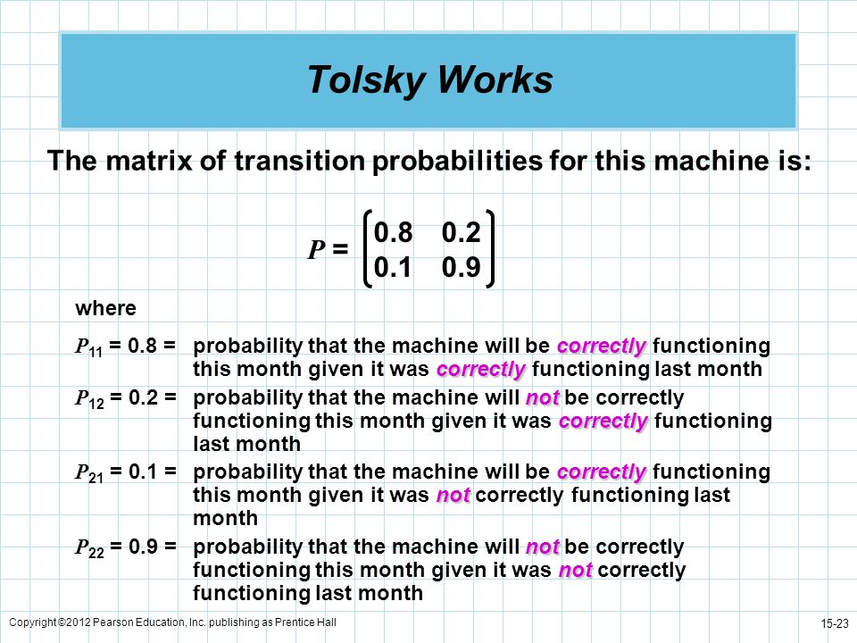 Tolsky Works The matrix of transition probabilities for this machine is: 0.8 0.2. 0.1 0.9. P = where.