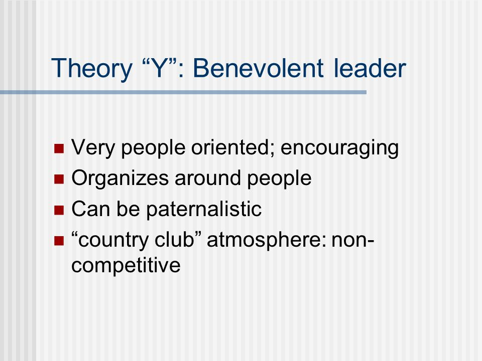 Theory Y : Benevolent leader