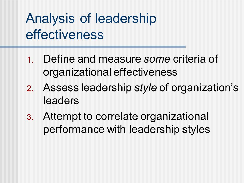 Analysis of leadership effectiveness