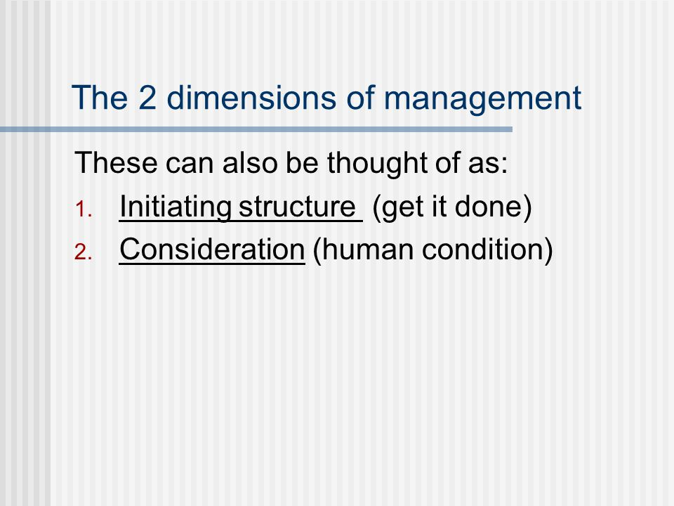 The 2 dimensions of management