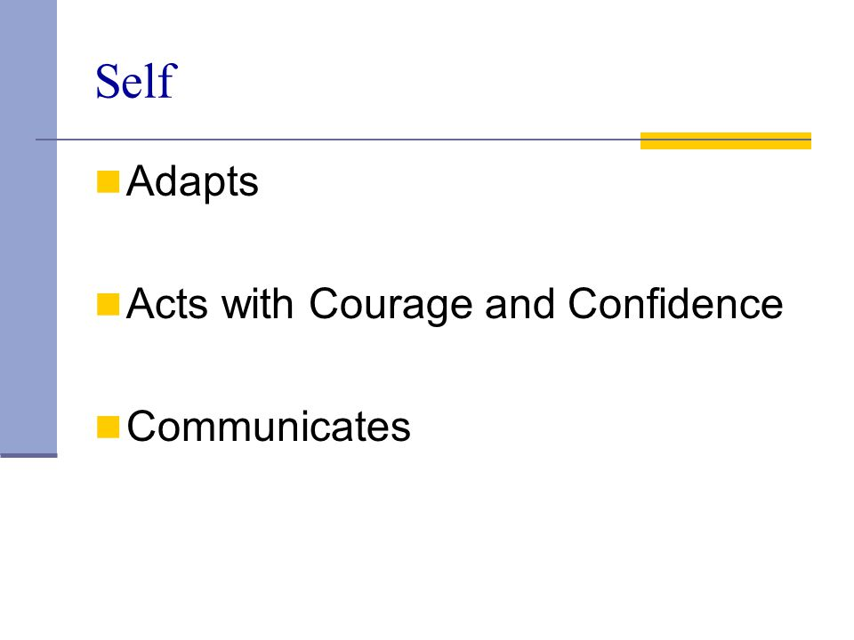 Self Adapts Acts with Courage and Confidence Communicates