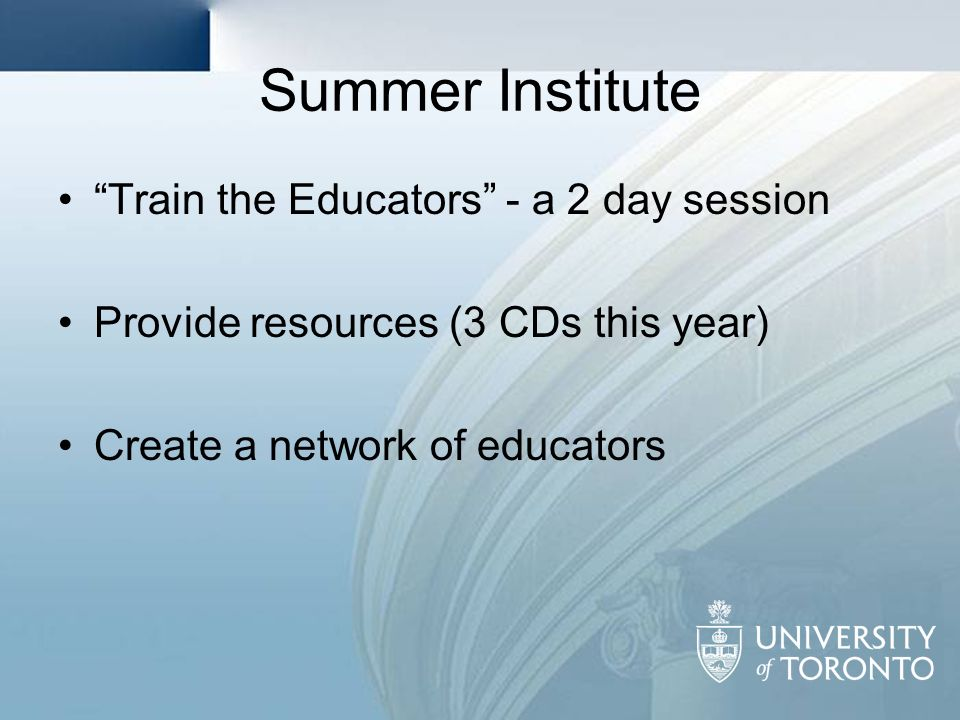 Summer Institute Train the Educators - a 2 day session