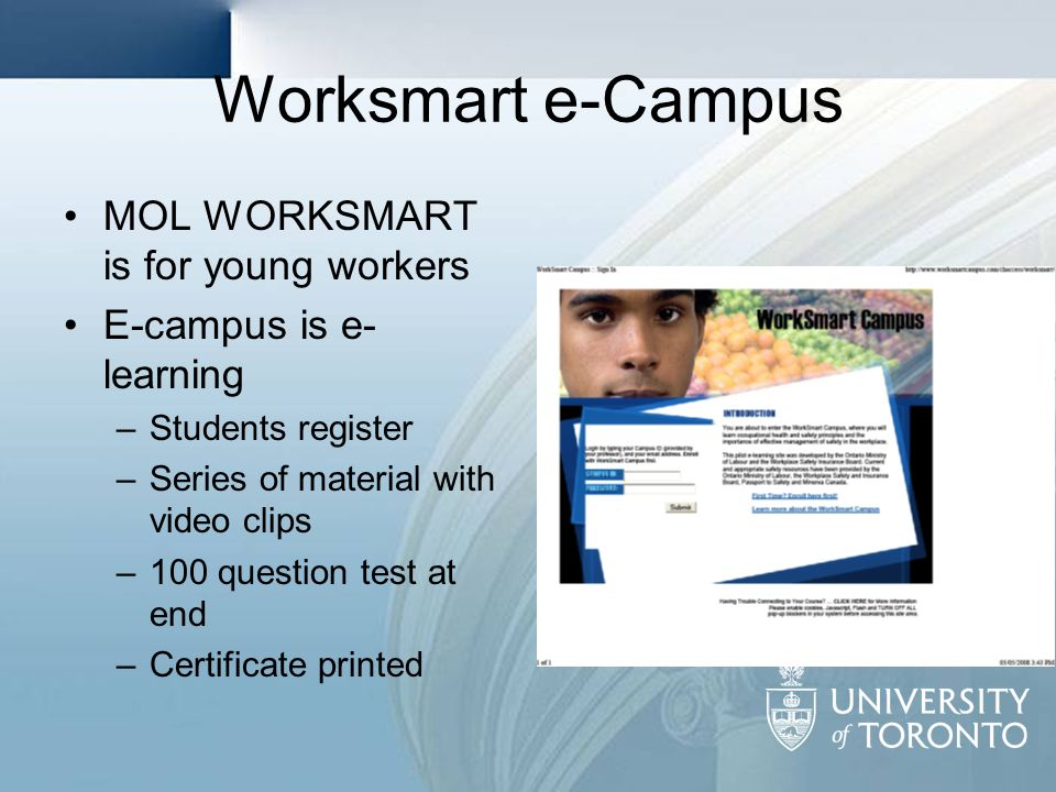 Worksmart e-Campus MOL WORKSMART is for young workers