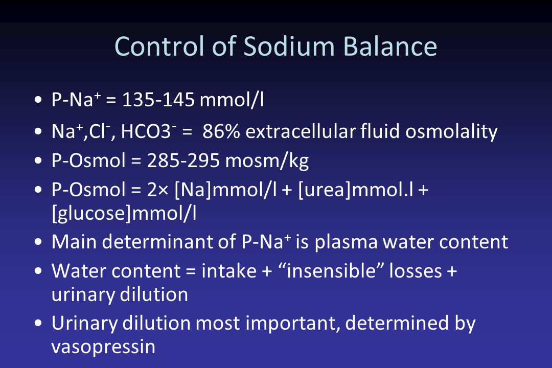 Control of Sodium Balance