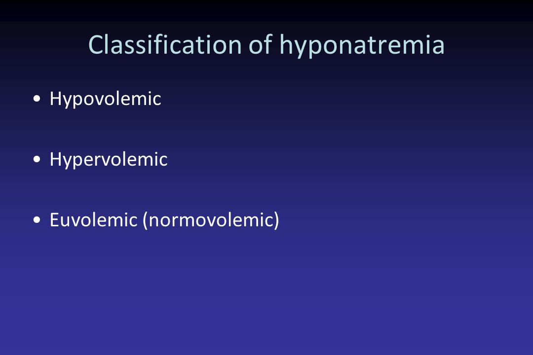 Classification of hyponatremia