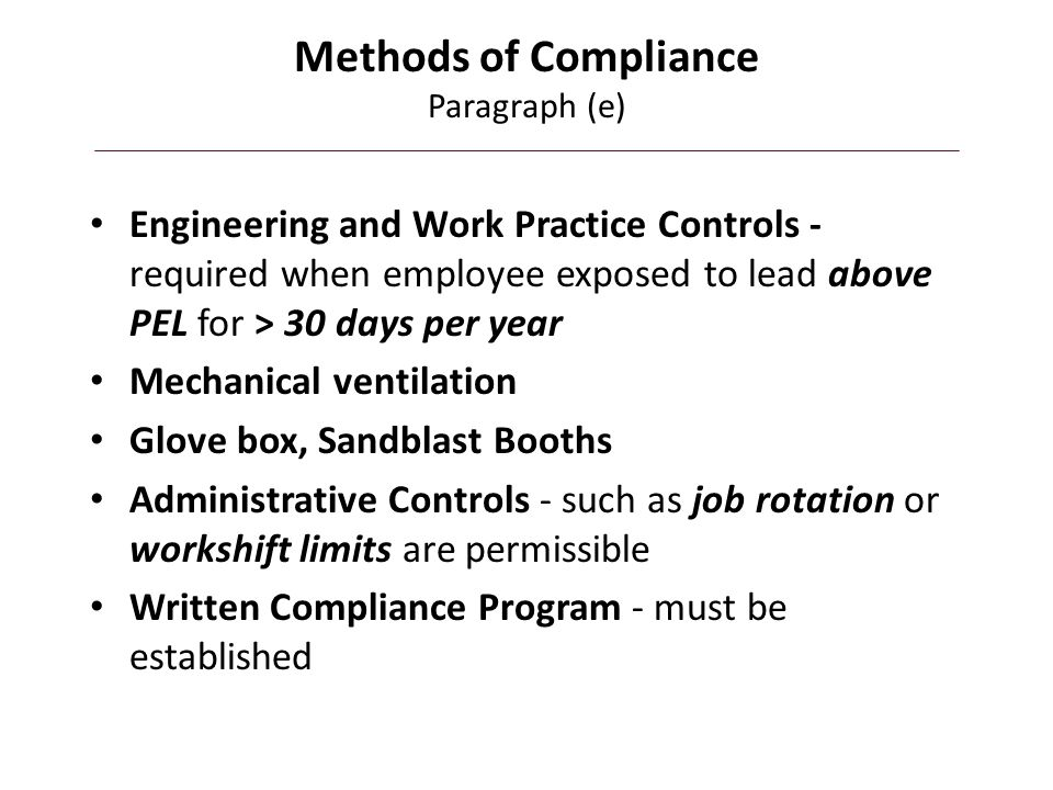 Methods of Compliance Paragraph (e)