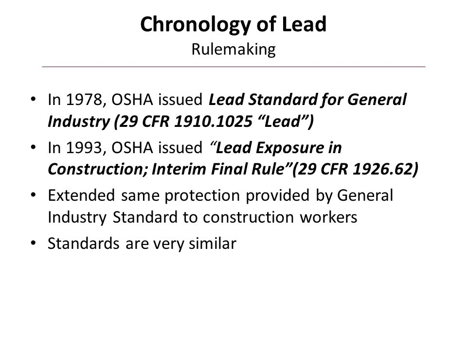 Chronology of Lead Rulemaking