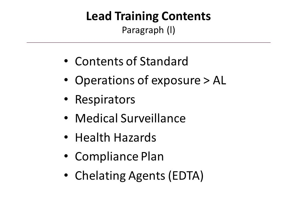 Lead Training Contents Paragraph (l)