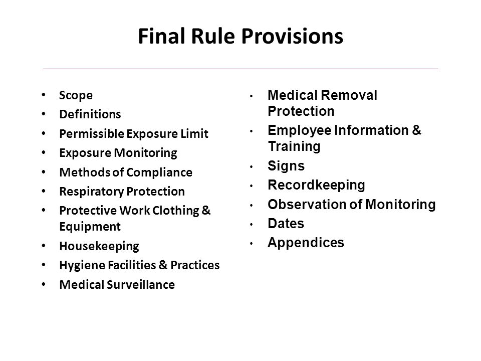 Final Rule Provisions Scope Definitions Permissible Exposure Limit