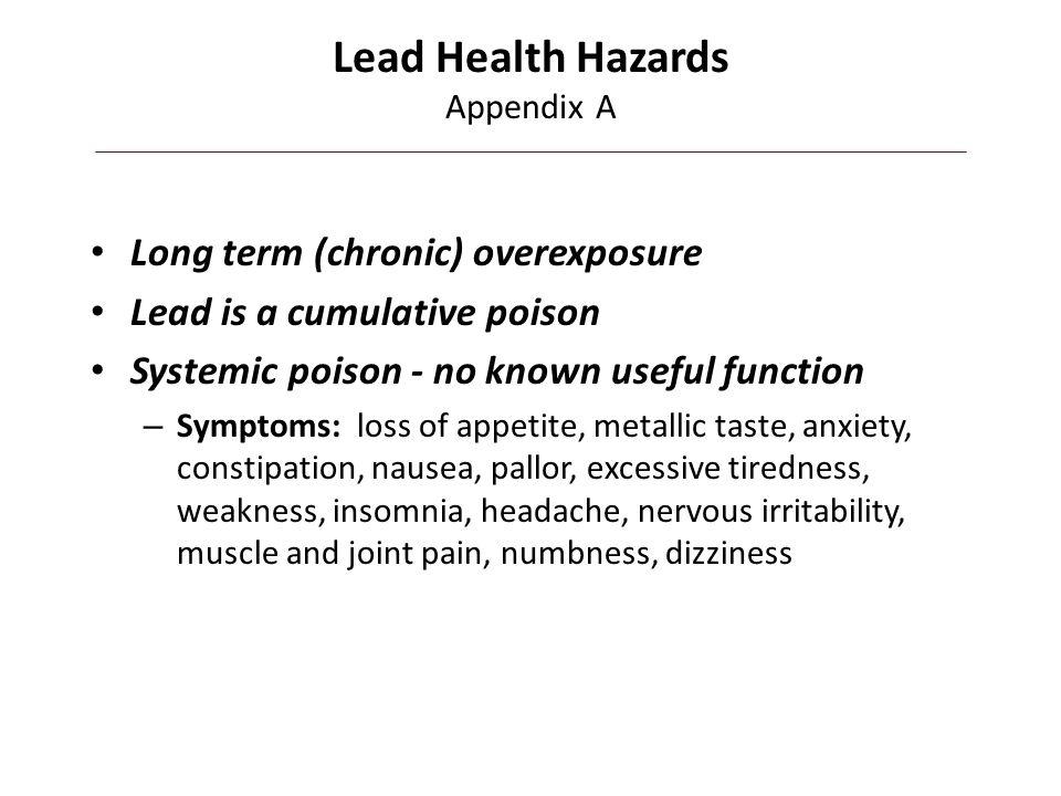 Lead Health Hazards Appendix A