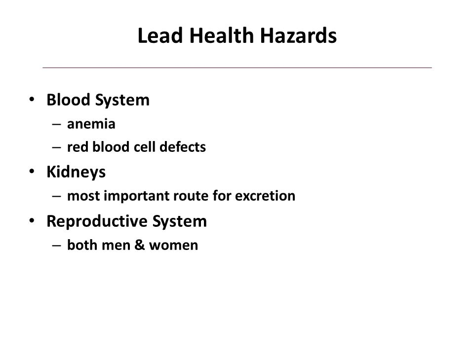 Lead Health Hazards Blood System Kidneys Reproductive System anemia