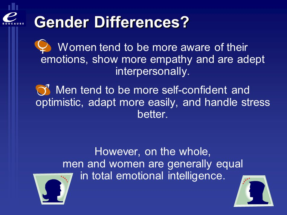 Gender Differences Women tend to be more aware of their emotions, show more empathy and are adept interpersonally.