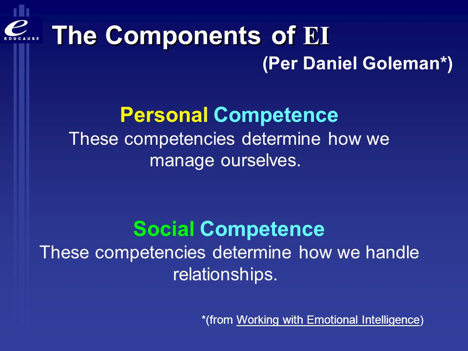 The Components of EI (Per Daniel Goleman*) Personal Competence These competencies determine how we manage ourselves.