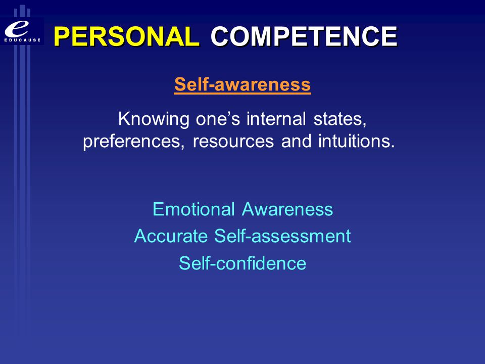 PERSONAL COMPETENCE Self-awareness
