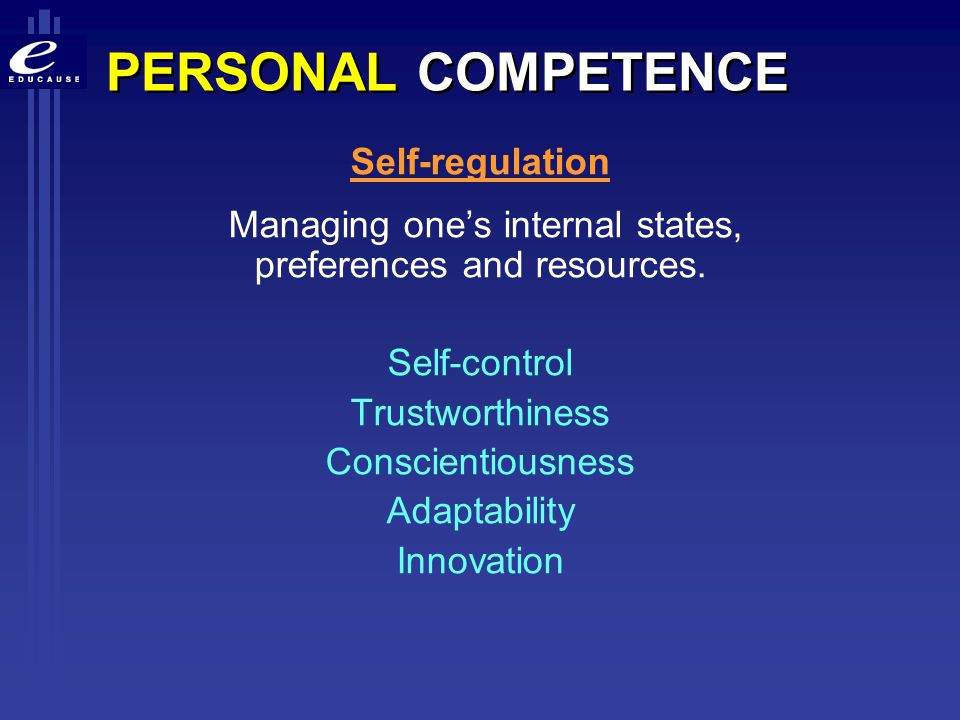 Managing one's internal states, preferences and resources.