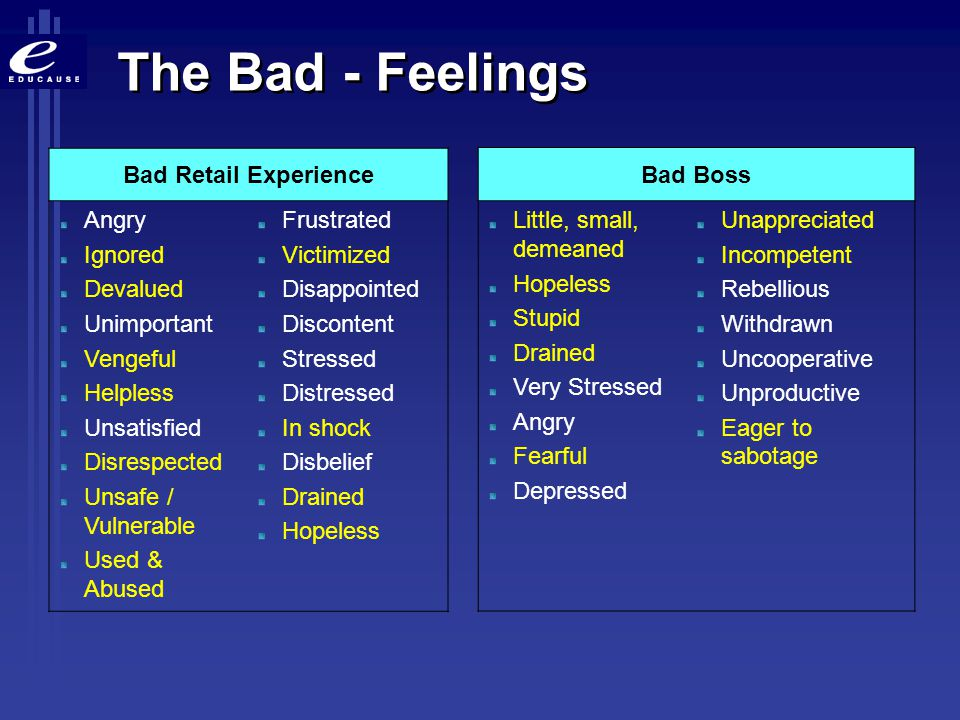 The Bad - Feelings Bad Retail Experience Angry Ignored Devalued