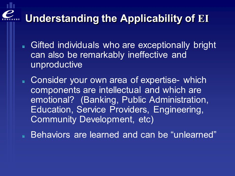 Understanding the Applicability of EI