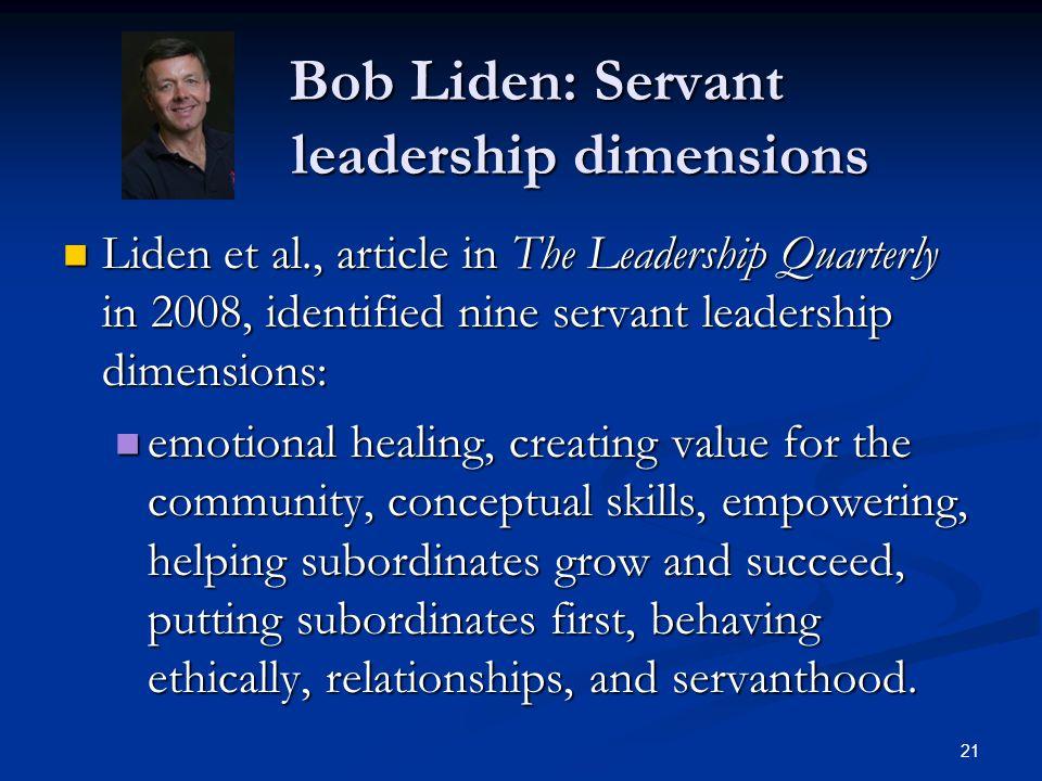 Bob Liden: Servant leadership dimensions