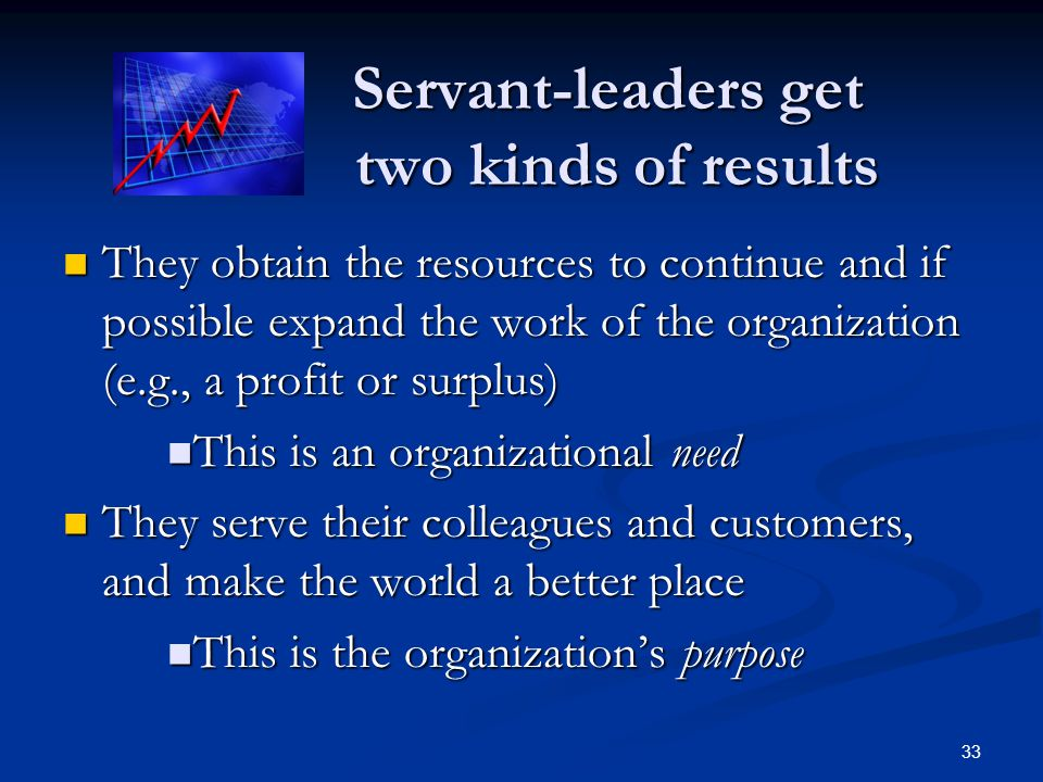 Servant-leaders get two kinds of results