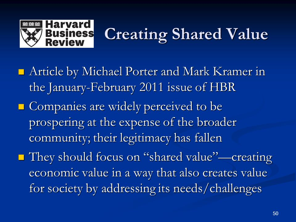 Creating Shared Value Article by Michael Porter and Mark Kramer in the January-February 2011 issue of HBR.