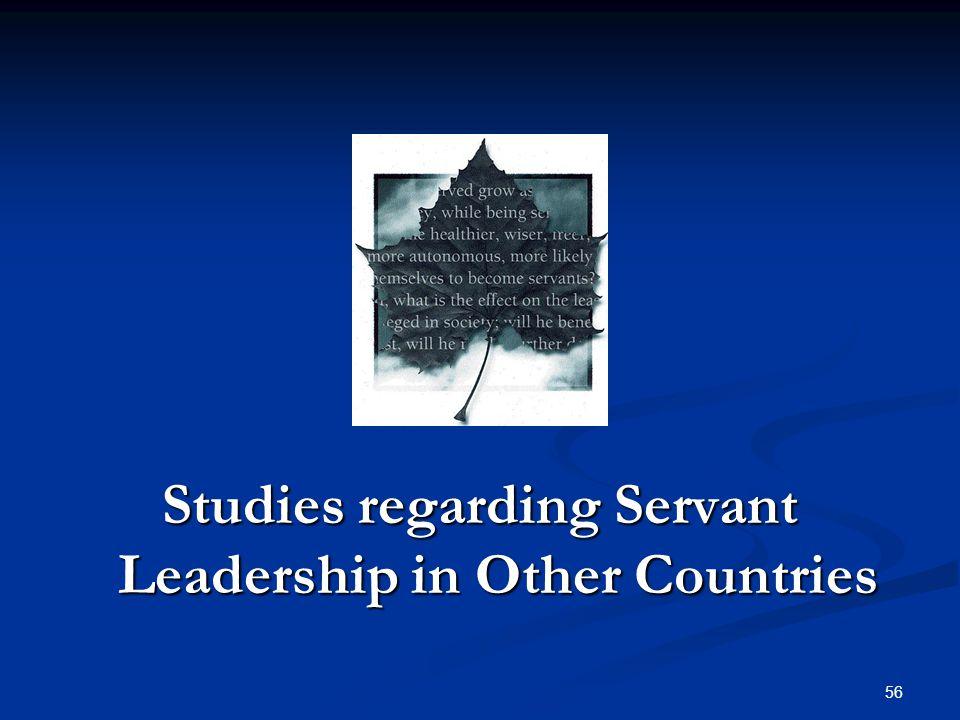 Studies regarding Servant Leadership in Other Countries