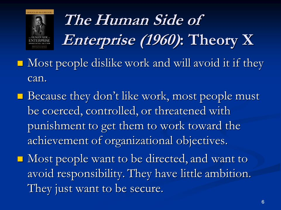 The Human Side of Enterprise (1960): Theory X