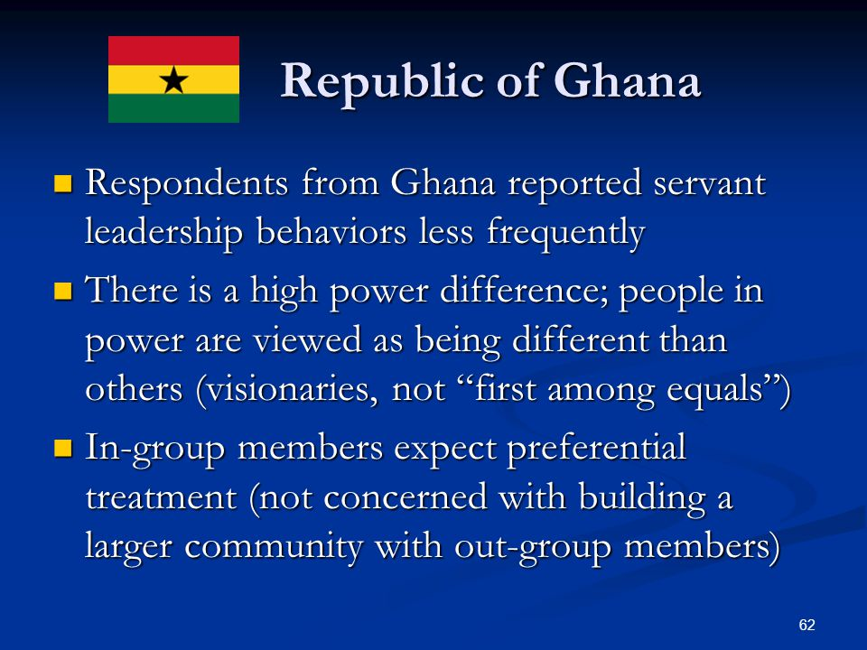 Republic of Ghana Respondents from Ghana reported servant leadership behaviors less frequently.