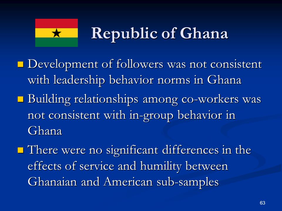 Republic of Ghana Development of followers was not consistent with leadership behavior norms in Ghana.