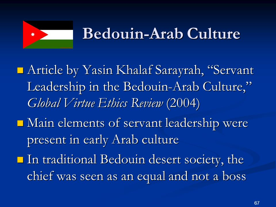 Bedouin-Arab Culture Article by Yasin Khalaf Sarayrah, Servant Leadership in the Bedouin-Arab Culture, Global Virtue Ethics Review (2004)