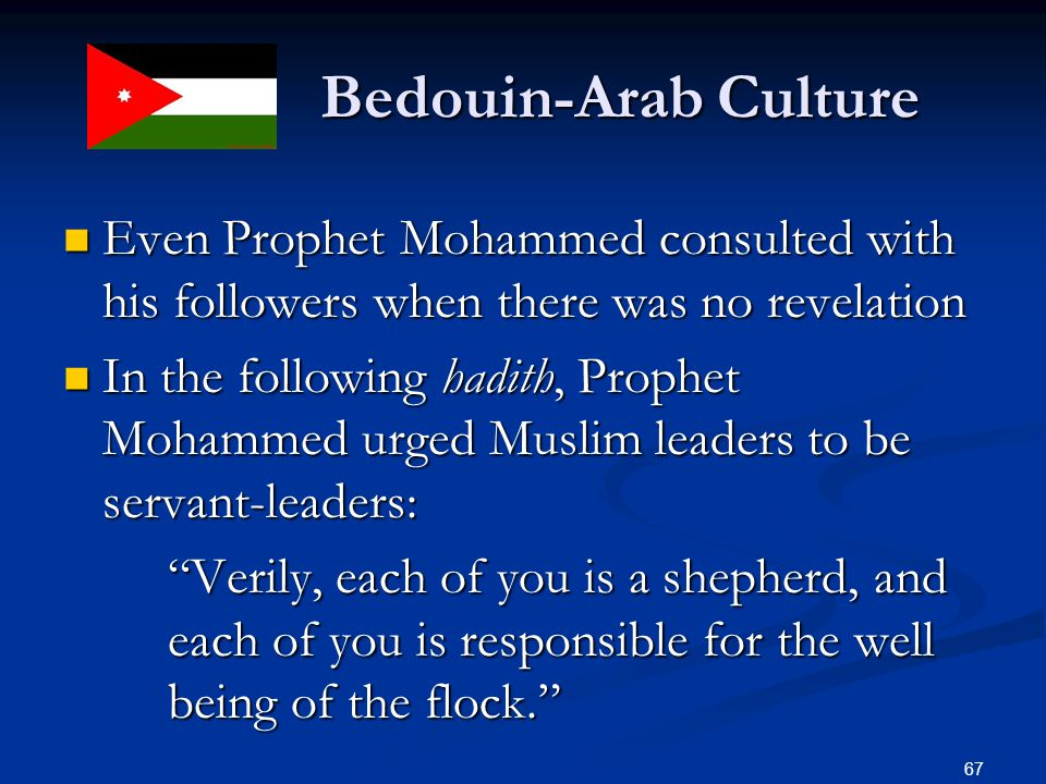 Bedouin-Arab Culture Even Prophet Mohammed consulted with his followers when there was no revelation.