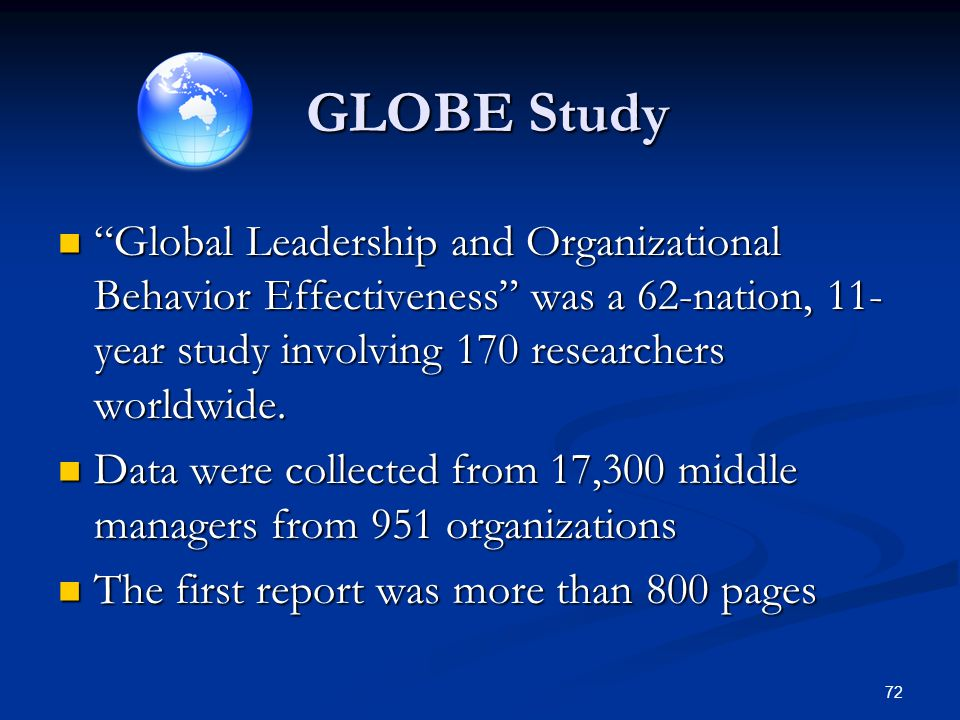 GLOBE Study Global Leadership and Organizational Behavior Effectiveness was a 62-nation, 11-year study involving 170 researchers worldwide.