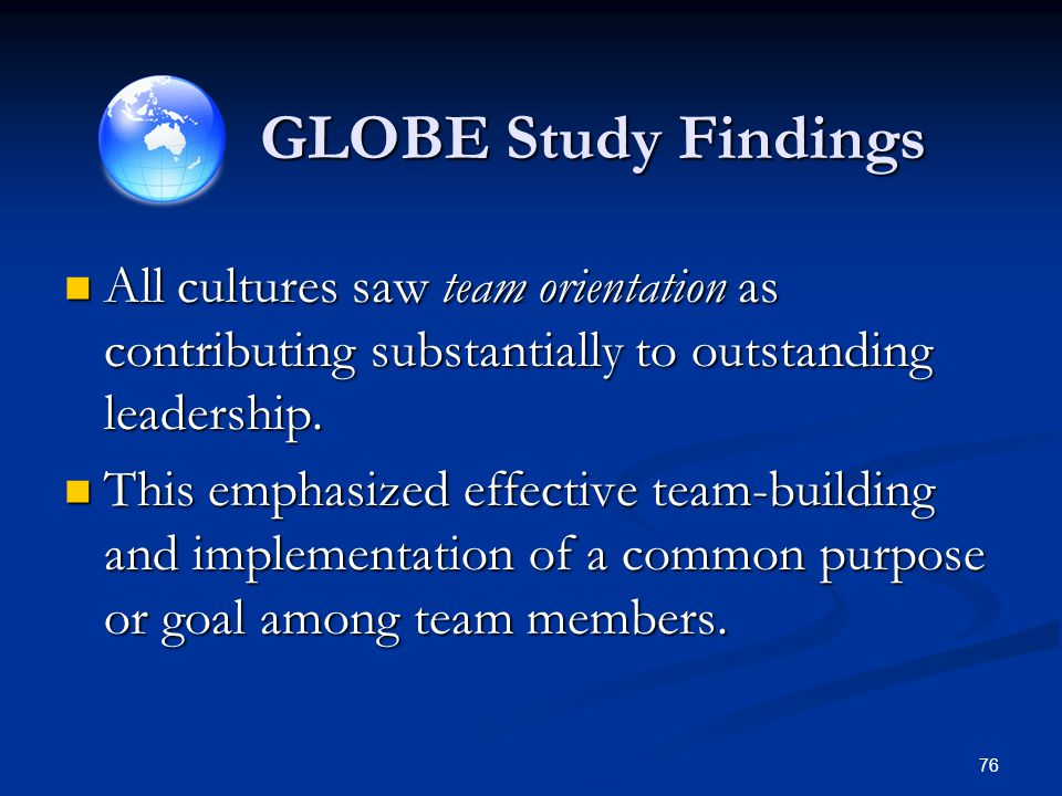 GLOBE Study Findings All cultures saw team orientation as contributing substantially to outstanding leadership.
