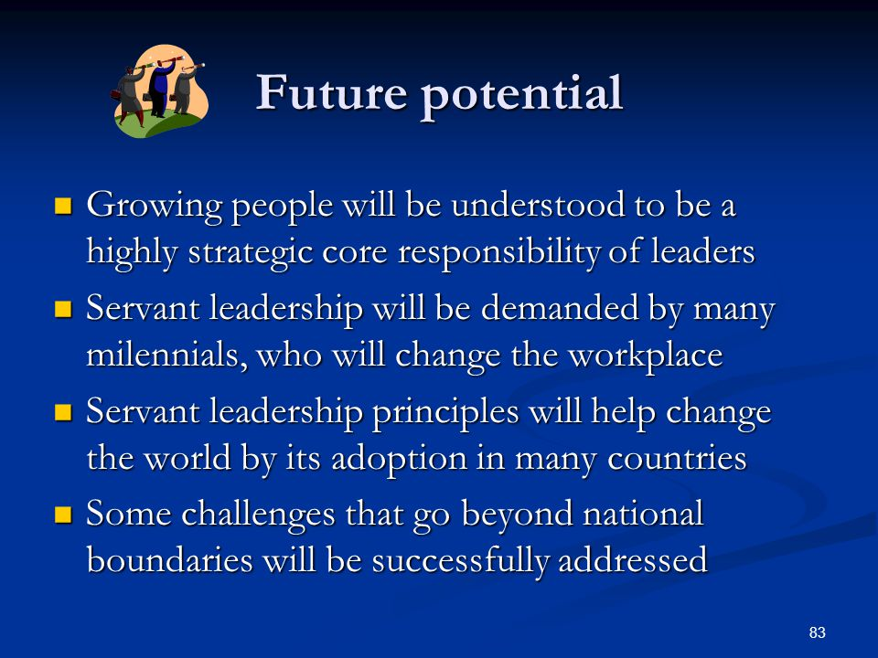 Future potential Growing people will be understood to be a highly strategic core responsibility of leaders.